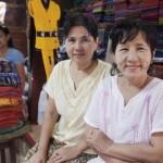 Shan sisters selling 'longyis' at a market in Bagan © Gemima Harvey 2012